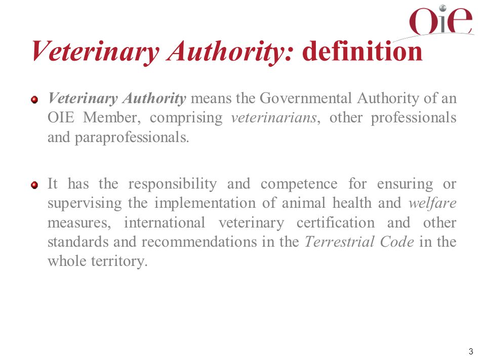 Veterinary Authority: definition