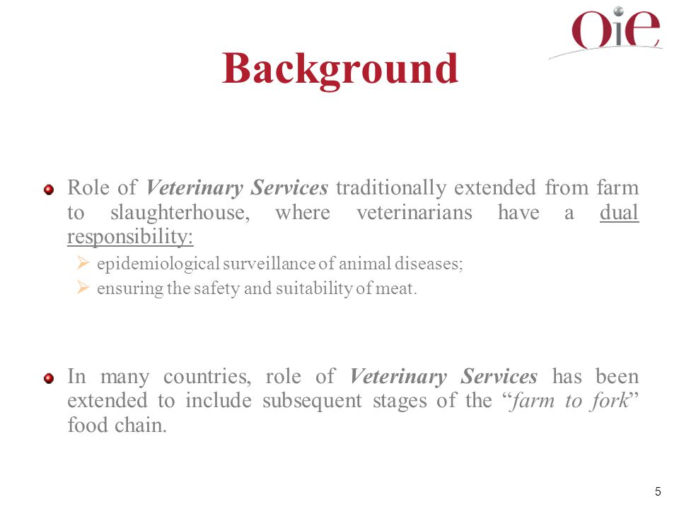 Background Role of Veterinary Services traditionally extended from farm to slaughterhouse, where veterinarians have a dual responsibility: