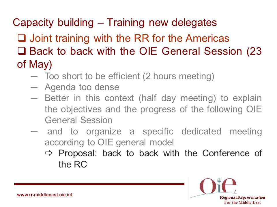 Capacity building – Training new delegates