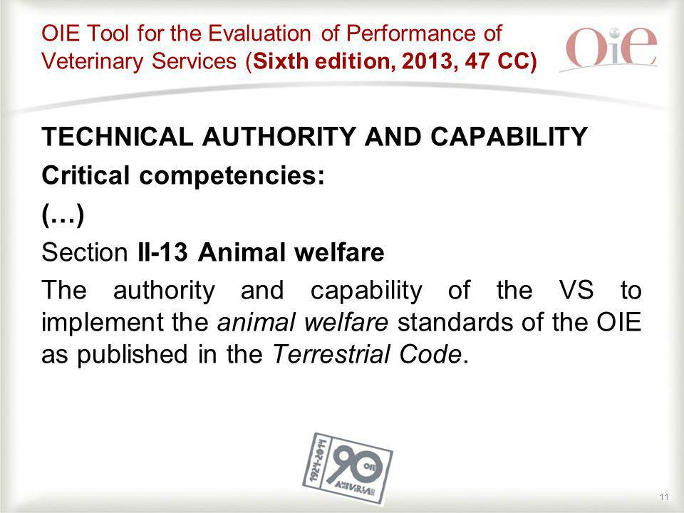 OIE Tool for the Evaluation of Performance of Veterinary Services (Sixth edition, 2013, 47 CC)