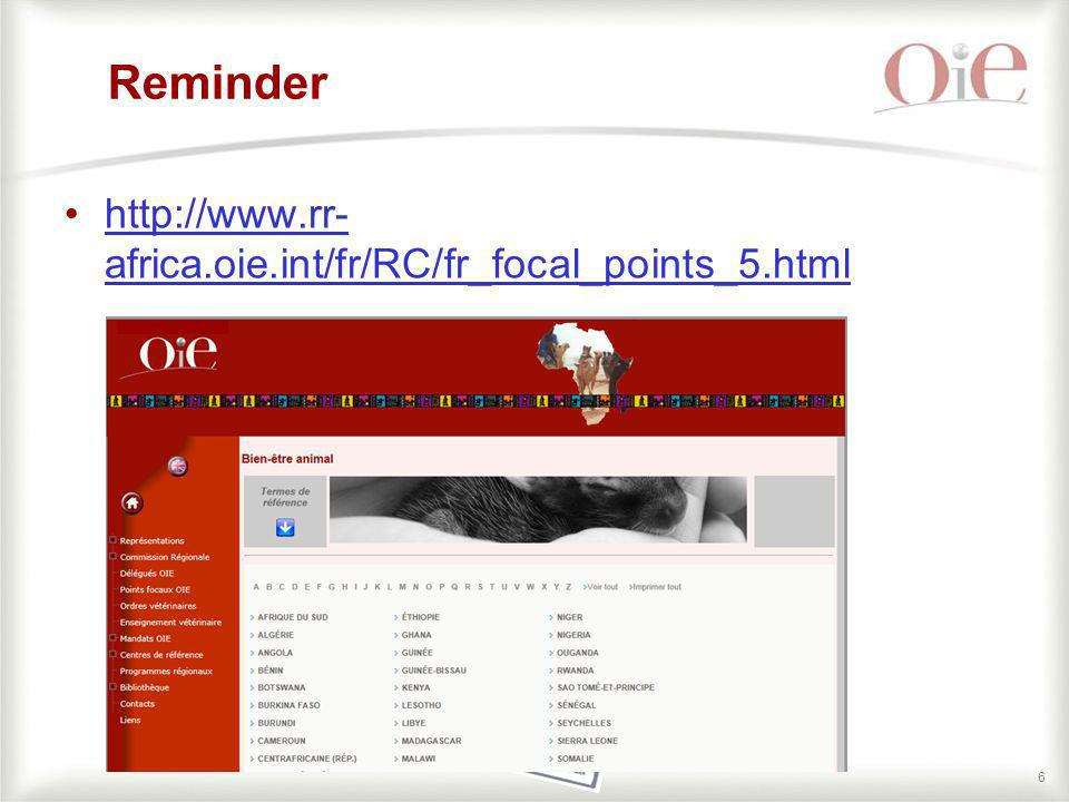 Reminder http://www.rr-africa.oie.int/fr/RC/fr_focal_points_5.html