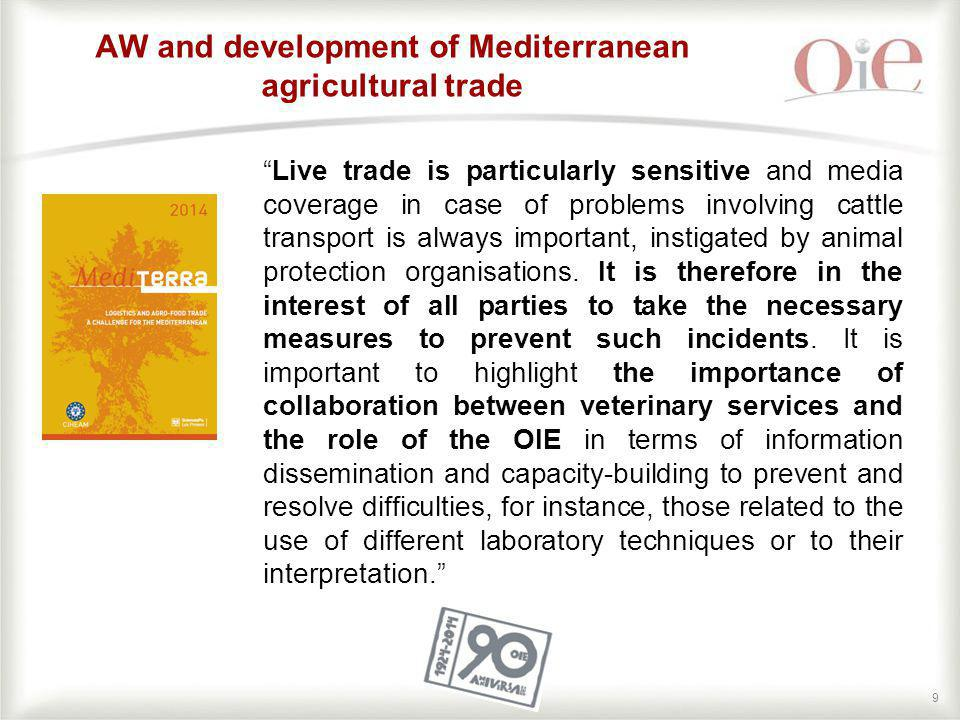 AW and development of Mediterranean agricultural trade