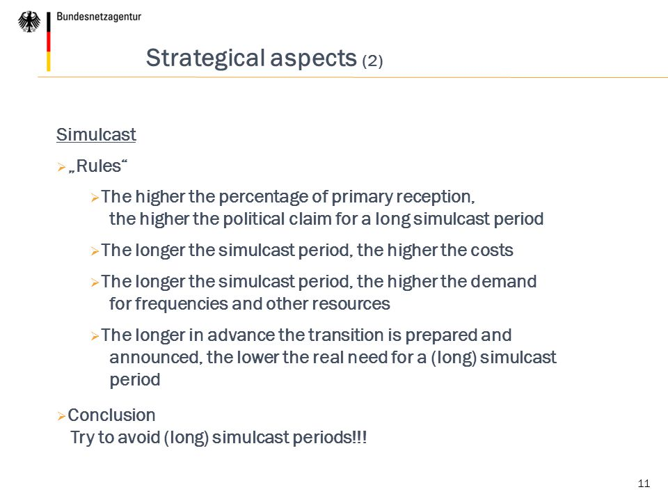 Strategical aspects (2)
