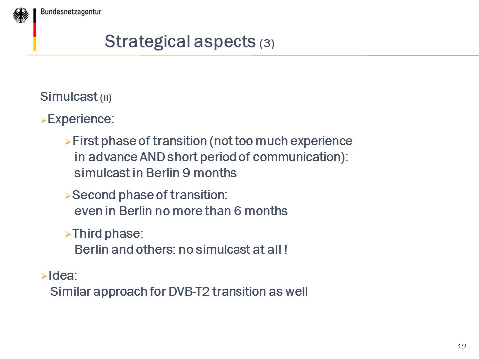 Strategical aspects (3)