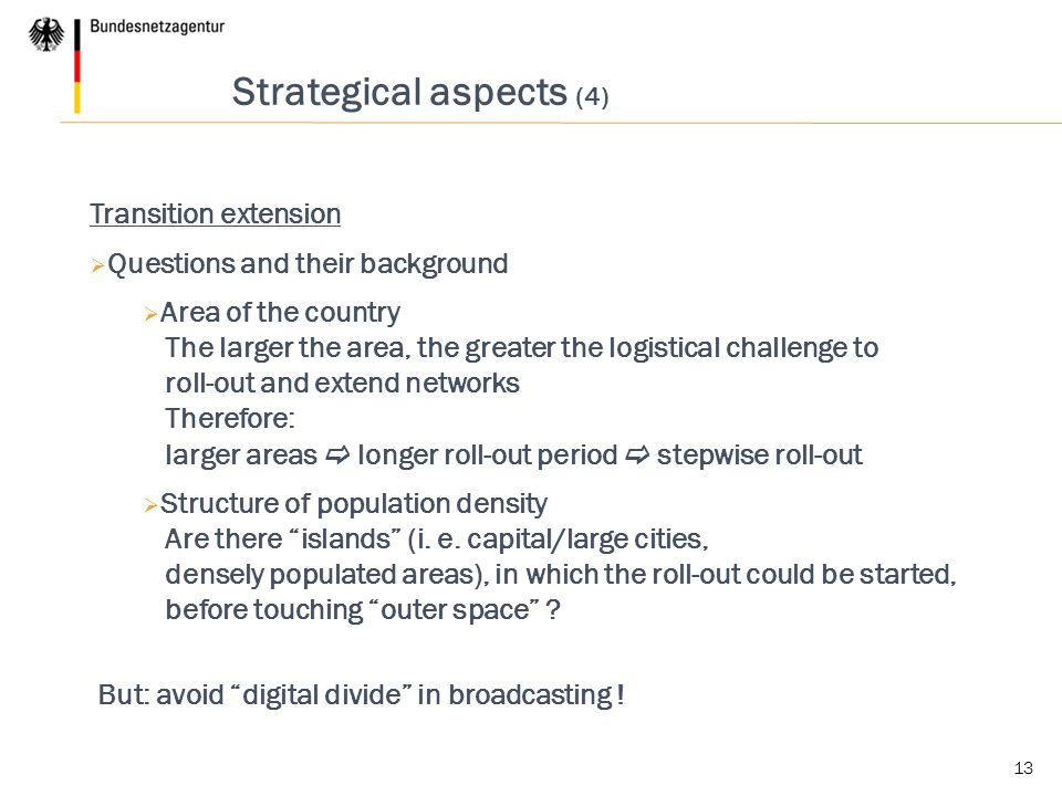Strategical aspects (4)
