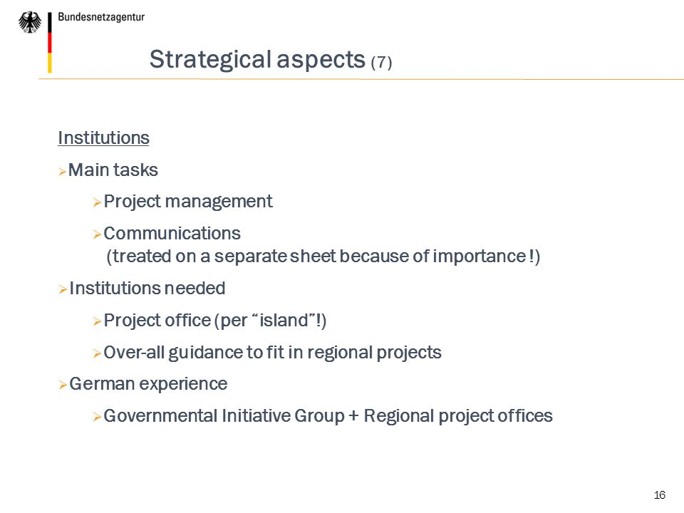 Strategical aspects (7)