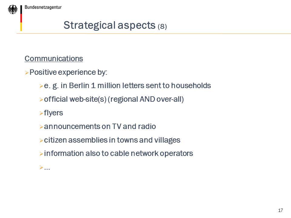 Strategical aspects (8)