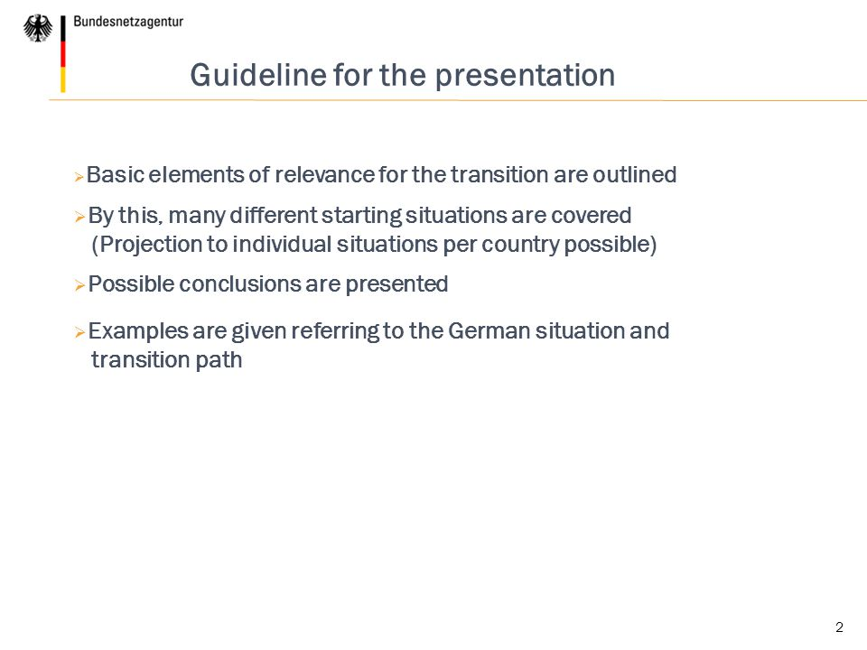 Guideline for the presentation