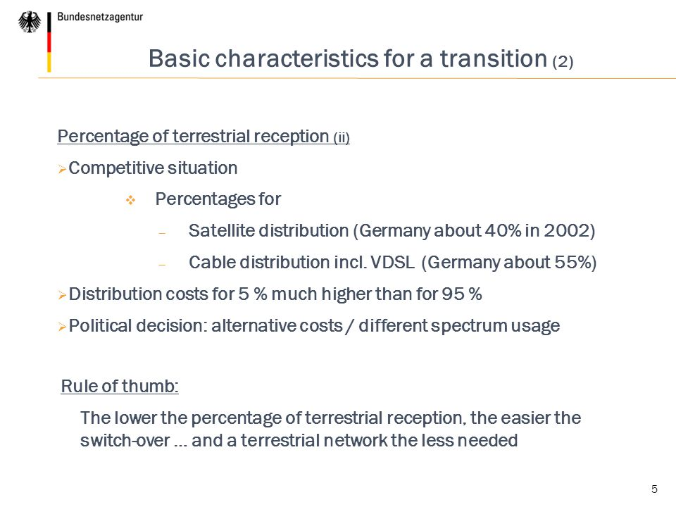 Basic characteristics for a transition (2)