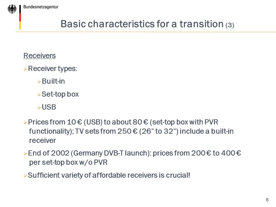 Basic characteristics for a transition (3)