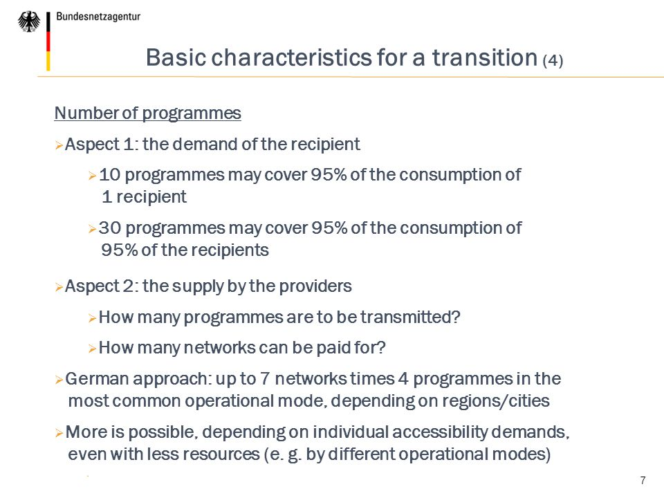 Basic characteristics for a transition (4)