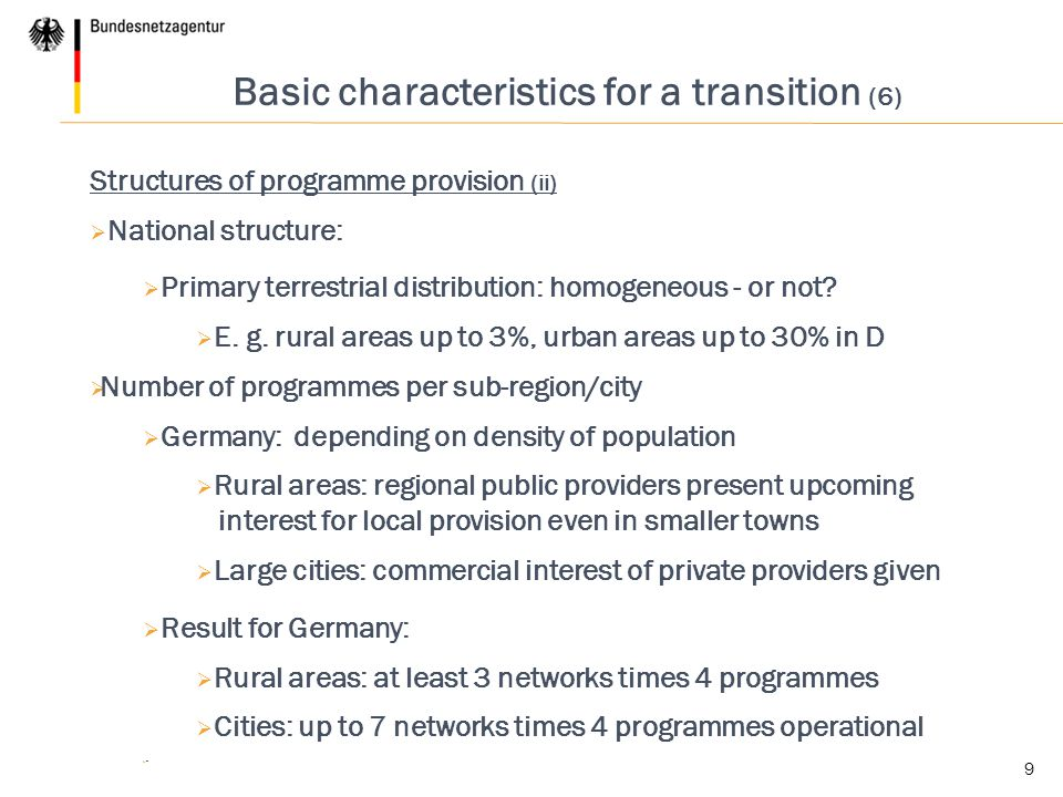 Basic characteristics for a transition (6)