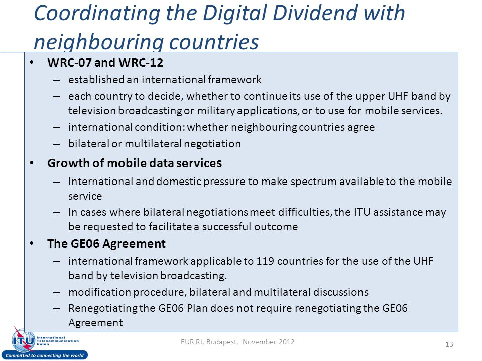 Coordinating the Digital Dividend with neighbouring countries