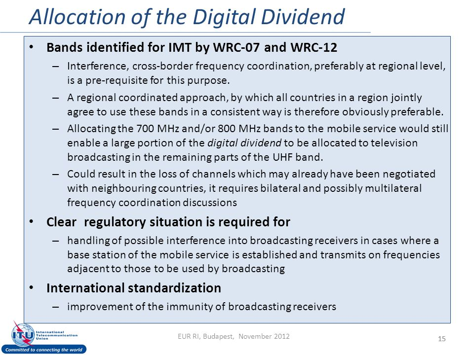 Allocation of the Digital Dividend