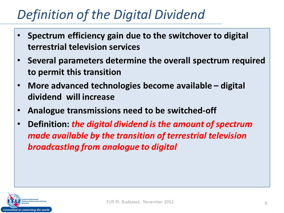 Definition of the Digital Dividend