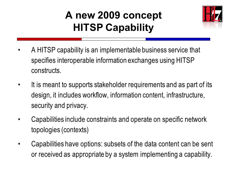 A new 2009 concept HITSP Capability
