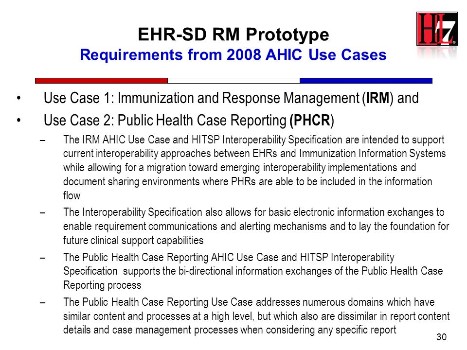 EHR-SD RM Prototype Requirements from 2008 AHIC Use Cases