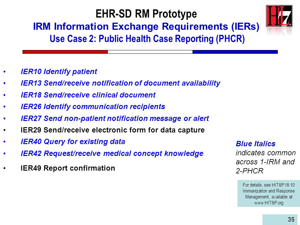 EHR-SD RM Prototype IRM Information Exchange Requirements (IERs) Use Case 2: Public Health Case Reporting (PHCR)