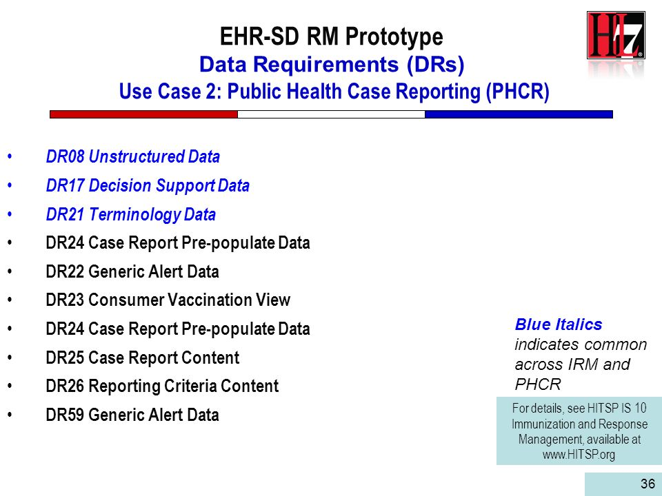 EHR-SD RM Prototype Data Requirements (DRs) Use Case 2: Public Health Case Reporting (PHCR)