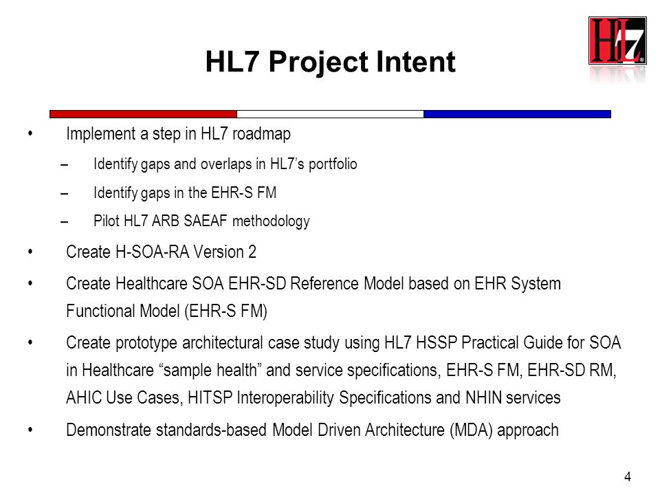 HL7 Project Intent Implement a step in HL7 roadmap