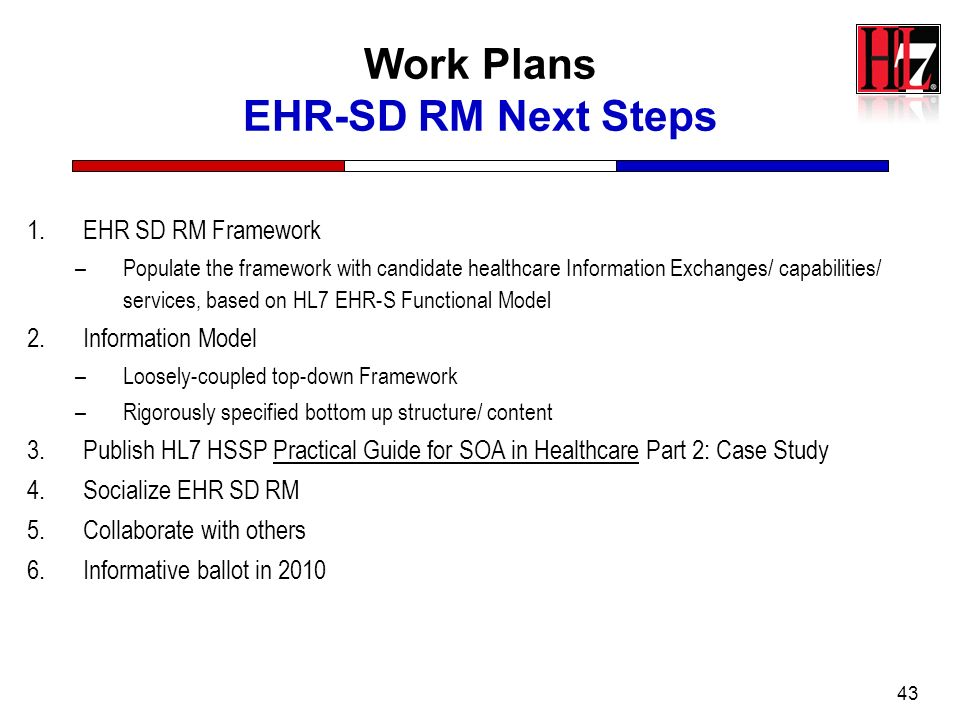 Work Plans EHR-SD RM Next Steps