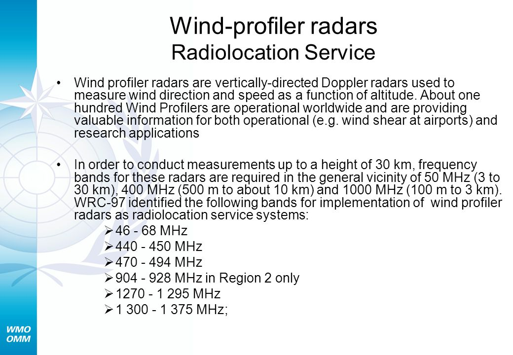 Wind-profiler radars Radiolocation Service