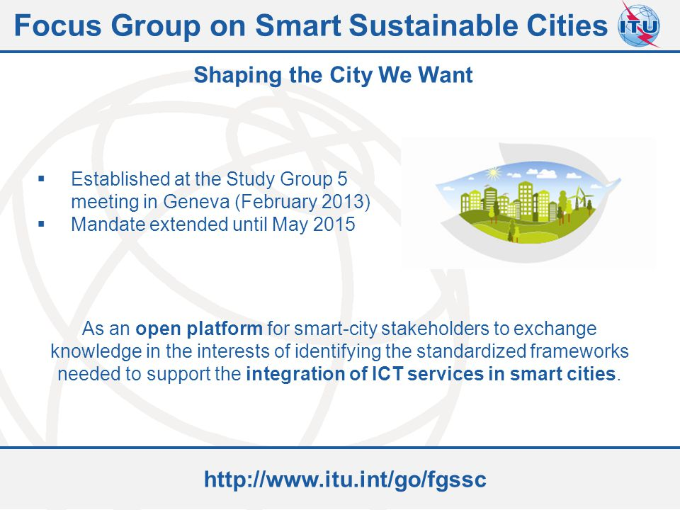 Focus Group on Smart Sustainable Cities Shaping the City We Want