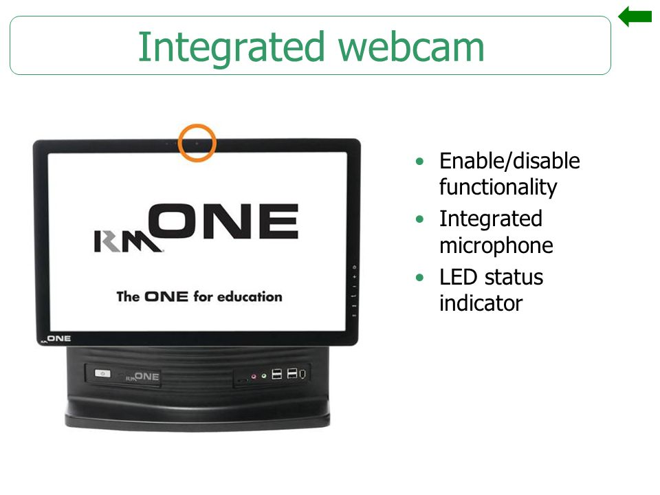 Integrated webcam Enable/disable functionality Integrated microphone