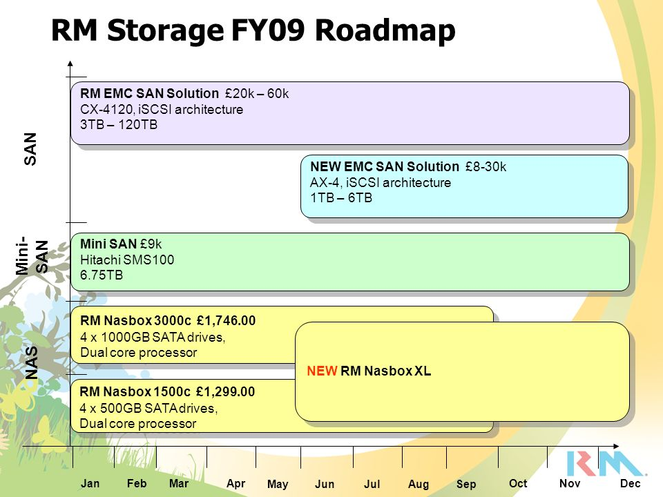 RM Storage FY09 Roadmap SAN Mini-SAN NAS
