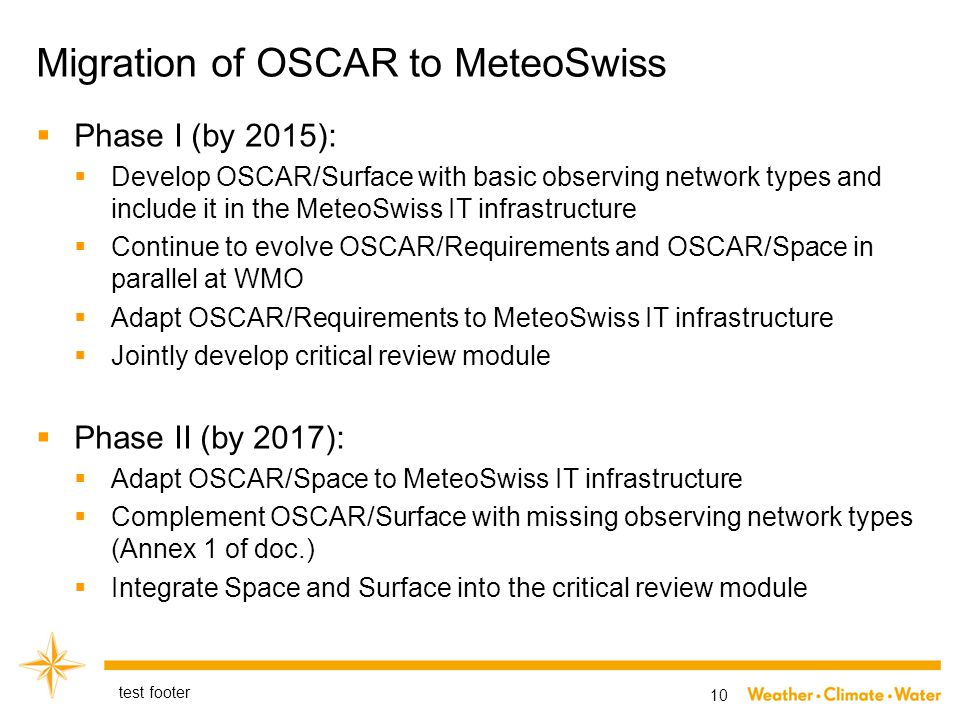 Migration of OSCAR to MeteoSwiss