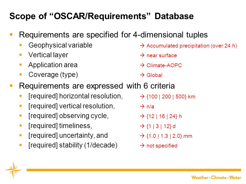 Scope of OSCAR/Requirements Database
