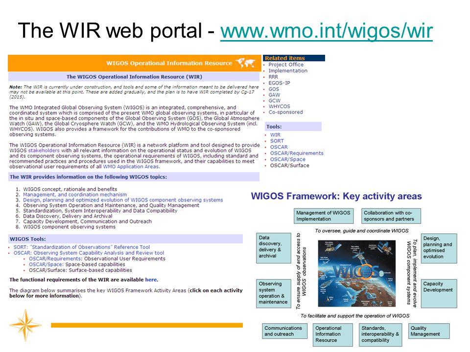 The WIR web portal - www.wmo.int/wigos/wir