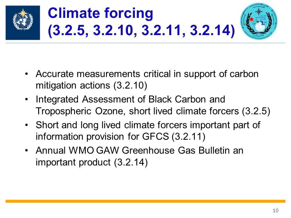 Climate forcing (3.2.5, , , ) Accurate measurements critical in support of carbon mitigation actions (3.2.10)
