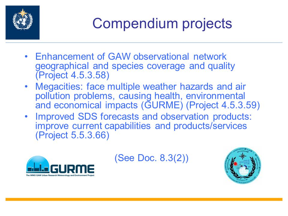 Compendium projects Enhancement of GAW observational network geographical and species coverage and quality (Project 4.5.3.58)