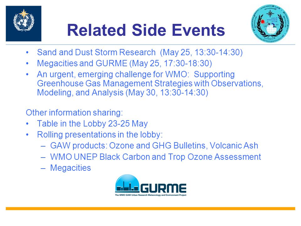 Related Side Events Sand and Dust Storm Research (May 25, 13:30-14:30)