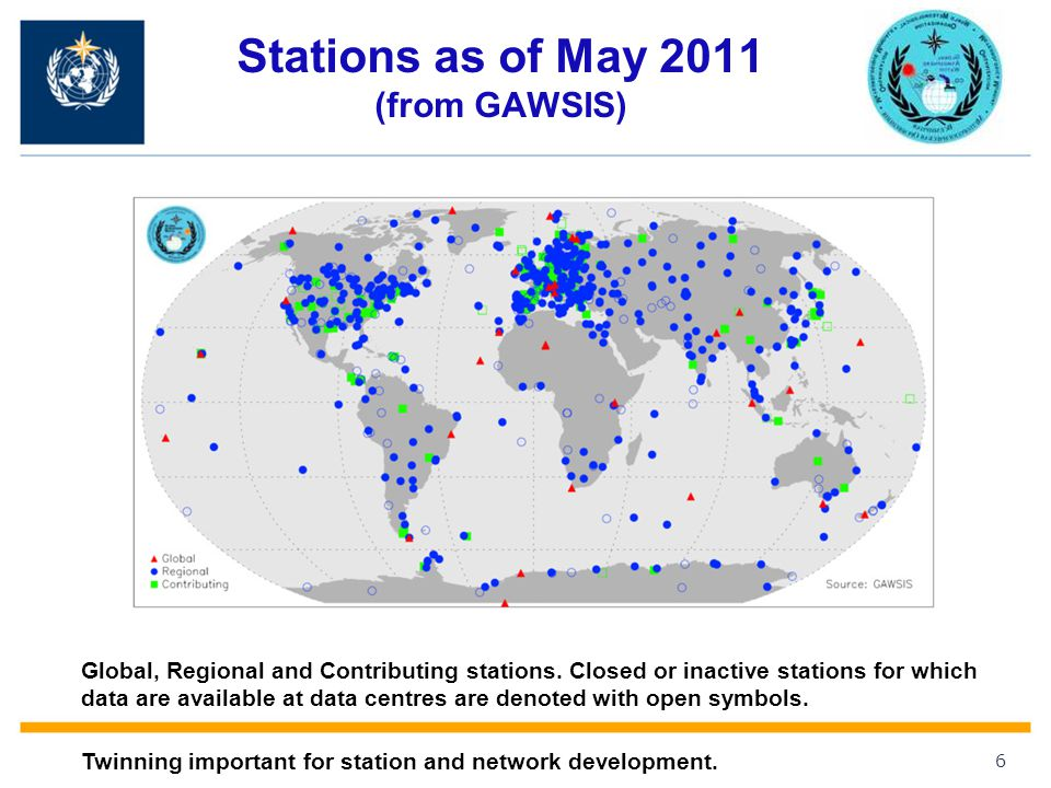 Stations as of May 2011 (from GAWSIS)