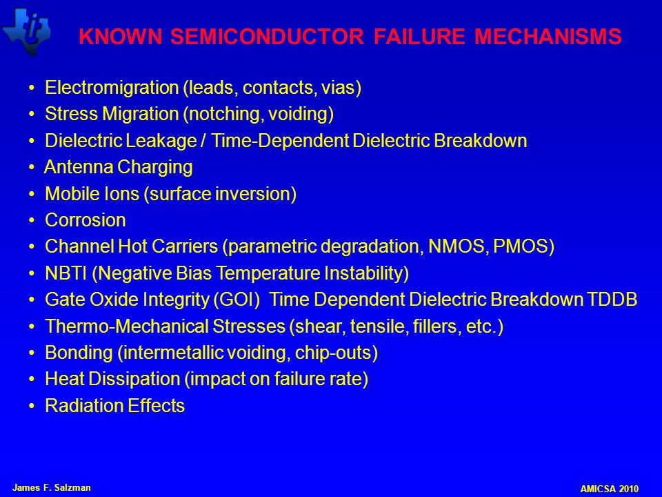KNOWN SEMICONDUCTOR FAILURE MECHANISMS
