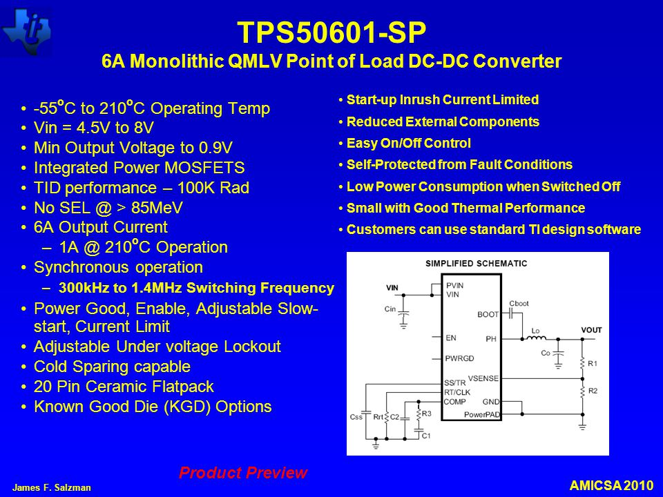 TPS50601-SP 6A Monolithic QMLV Point of Load DC-DC Converter