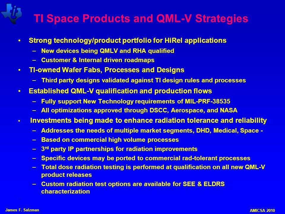 TI Space Products and QML-V Strategies