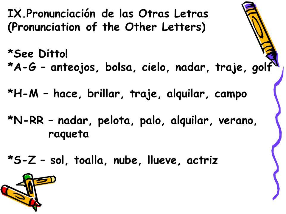 IX.Pronunciación de las Otras Letras