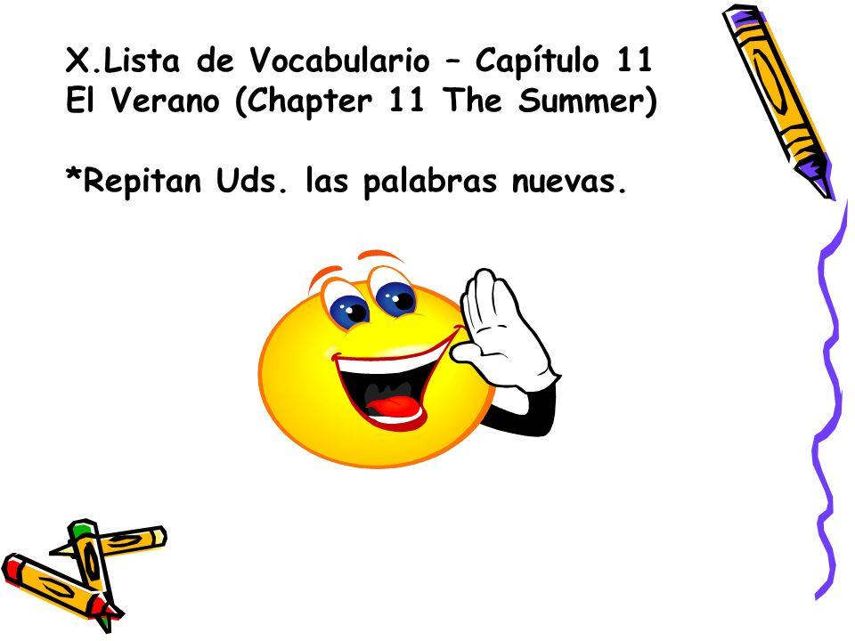 X.Lista de Vocabulario – Capítulo 11