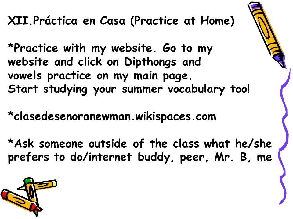 XII.Práctica en Casa (Practice at Home)
