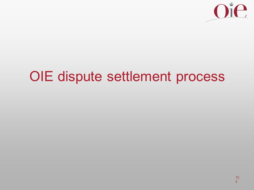 OIE dispute settlement process