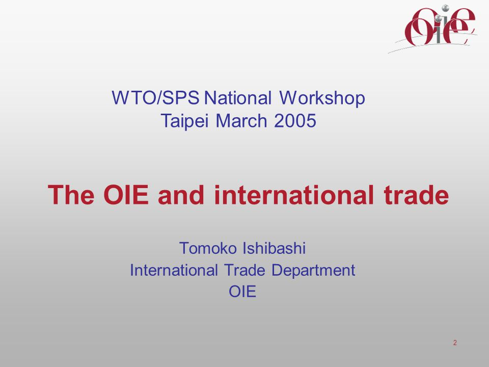 The OIE and international trade