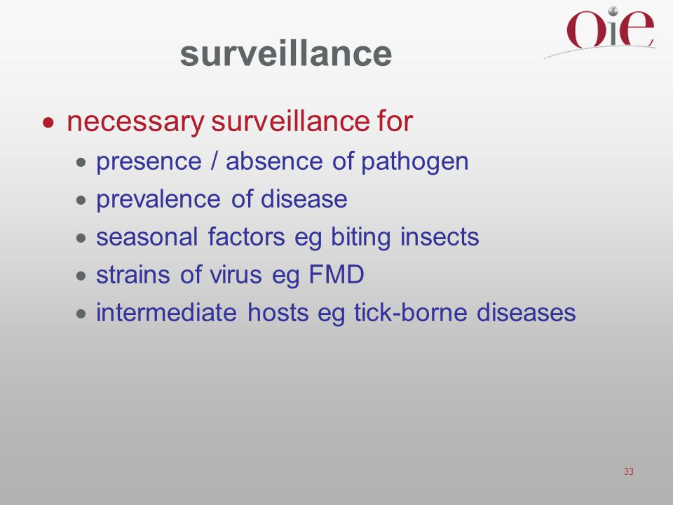 surveillance necessary surveillance for presence / absence of pathogen