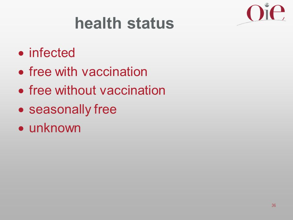 health status infected free with vaccination free without vaccination