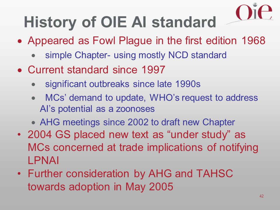 History of OIE AI standard