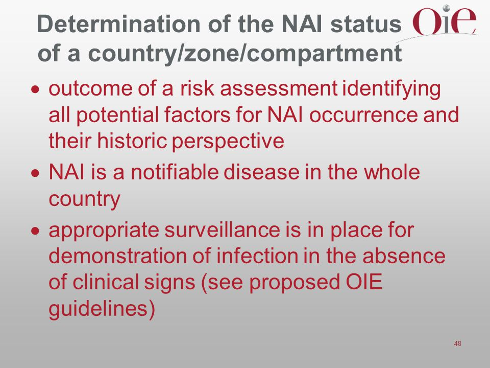 Determination of the NAI status of a country/zone/compartment