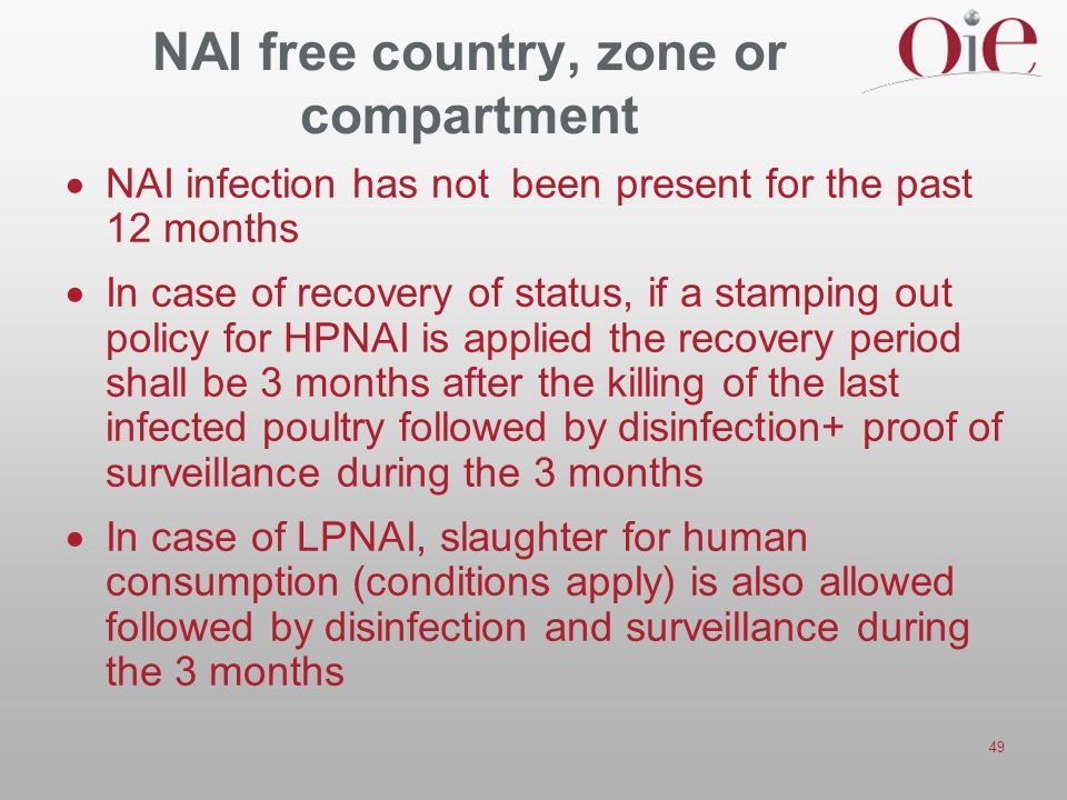 NAI free country, zone or compartment
