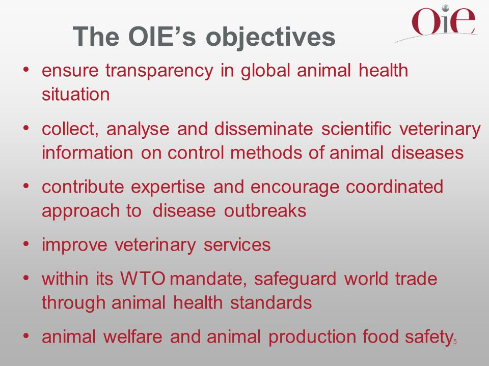 The OIE's objectives ensure transparency in global animal health situation.